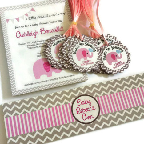 Pink Elephant Invitations, Favor Tags, and Water Bottle Labels