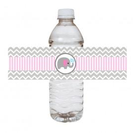 Pink Elephant Water Bottle Labels