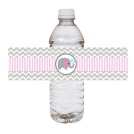 Pink Elephant Water Bottle Labels