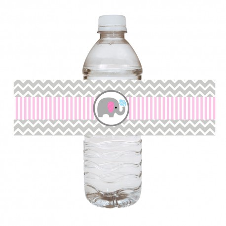 Pink Elephant Water Bottle Labels a (1)