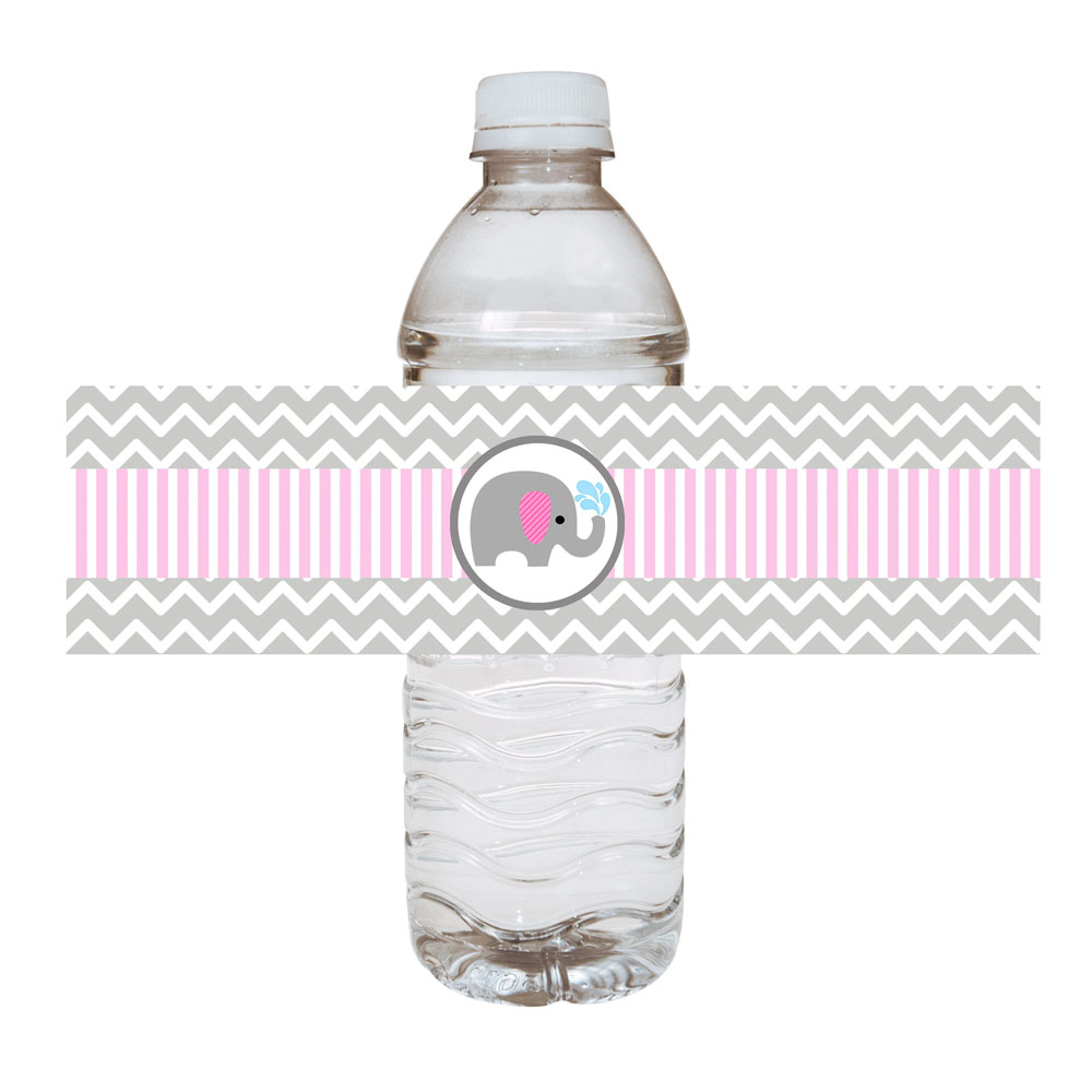 Pink Elephant Water Bottle Labels For Baby Girl Adore By Nat
