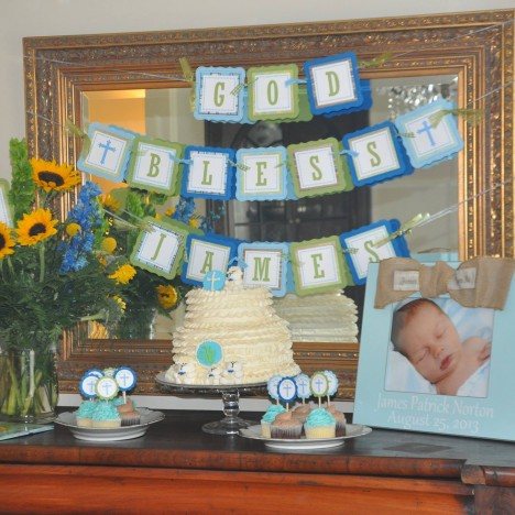 Baptism or First Communion Event Decoration with Personalized Banner, Cupcake Toppers and Centerpieces