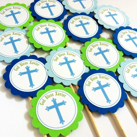 Cross Cupcake Toppers Blue Green a