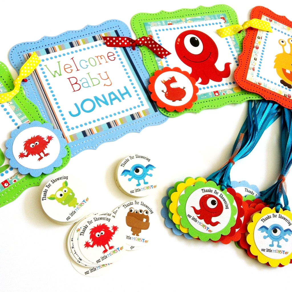 Thanks for Showering Our Little Monster Favor Tags for Baby Shower ...