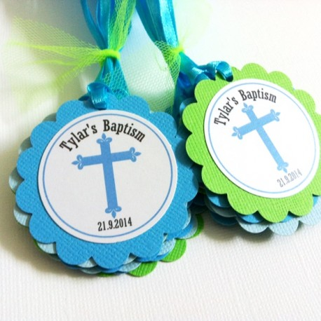 Baptism Favor Tags Blue Green b