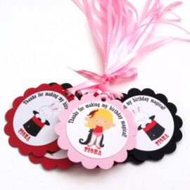 Magician Party Favor Tags for Girl's Birthday