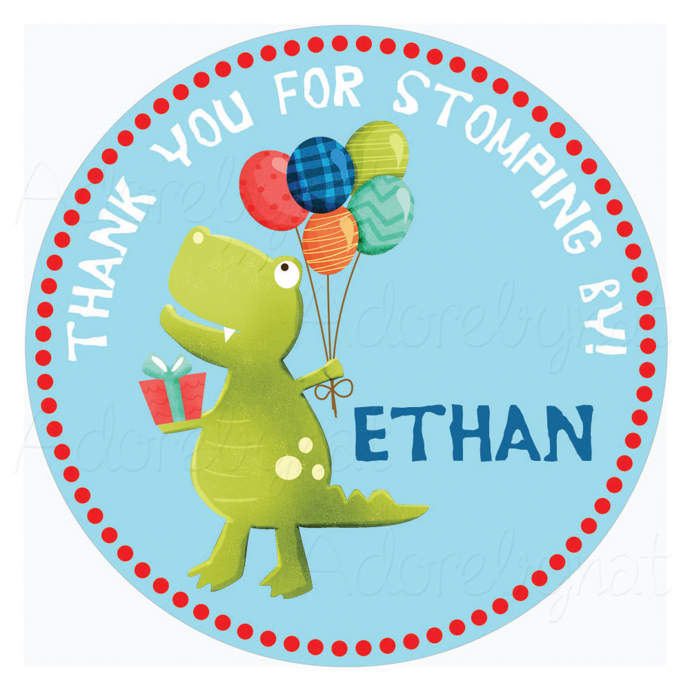 Dinosaur Thank You Stickers For Baby Shower Or Birthday