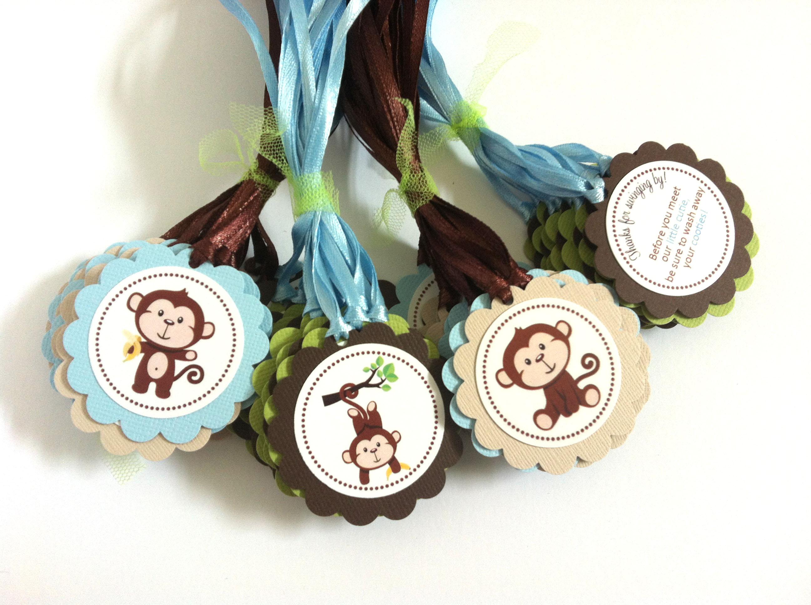Monkey favor tags baby boy shower or birthday party adorebynat - Monkey baby shower favors ideas ...
