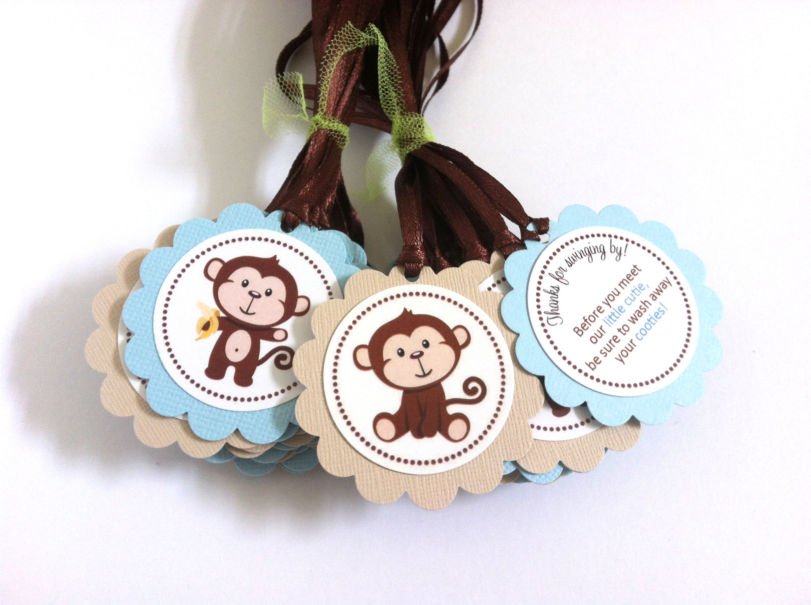 Monkey Favor Tags Baby Boy Shower or Birthday Party