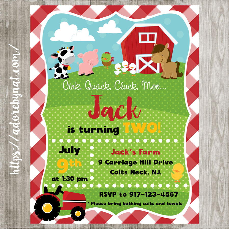 Farm Animals Party Invitations Printed or Printable – Farm Party Invitations