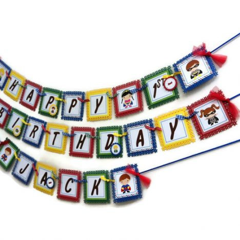 Superhero Birthday Party Banner