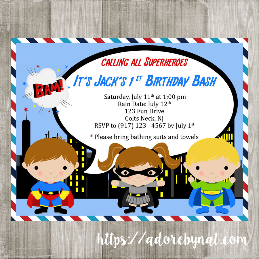picture about Printable Superhero Invitations called Superhero Get together Invites