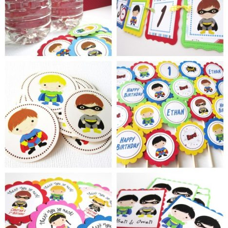 Superhero Party Banner, Toppers, Tags, Stickers, Bottle Water Labels