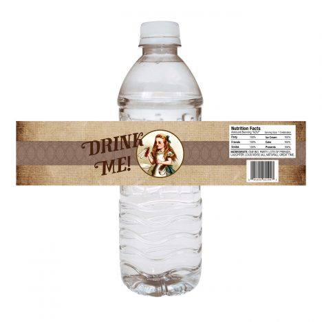 Alice in Wonderland Water Bottle Label