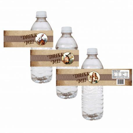 Alice in Wonderland Water Bottle Label