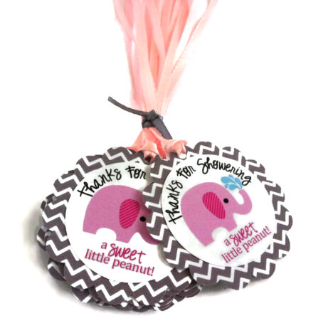 Thanks for Showering Pink Elephant Favor Tags