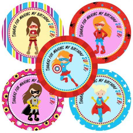 Superhero Girl Thank You Stickers