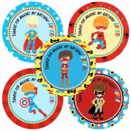 Superhero Thank You Stickers for Boy Birthday Party
