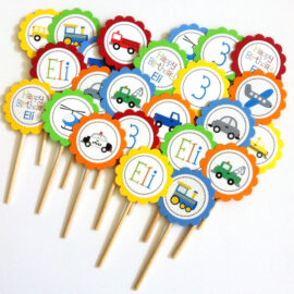 Personalized Transportation Cupcake Toppers