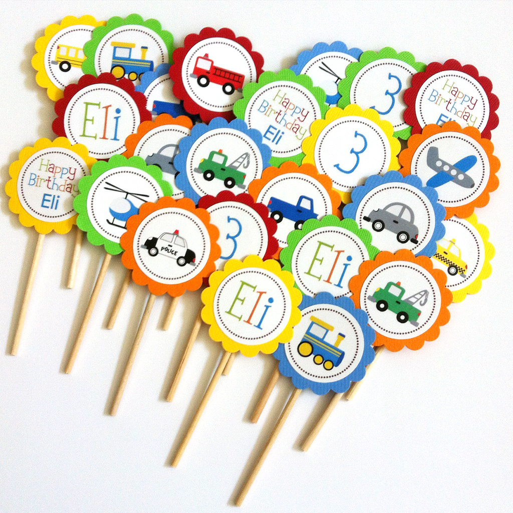 Personalized Transportation Cupcake Toppers Birthday and Baby Shower