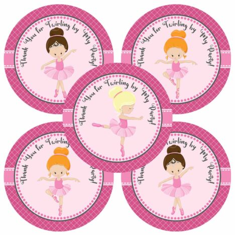Ballerina Thank You Stickers