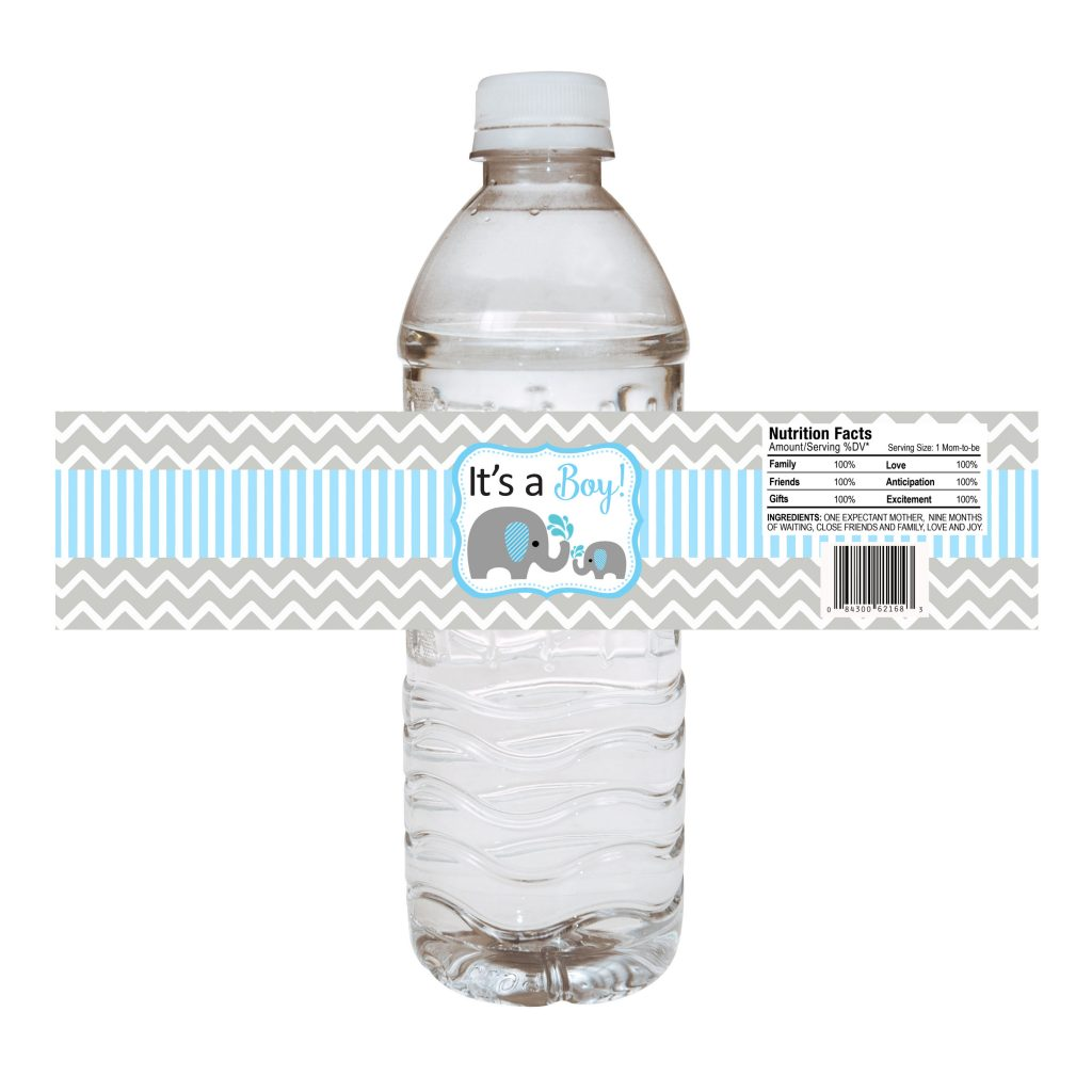 Baby Boy Elephant Water Bottle Labels For Baby Shower Party