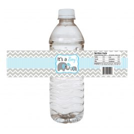 Elephant Water Bottle Labels for Baby Boy Shower