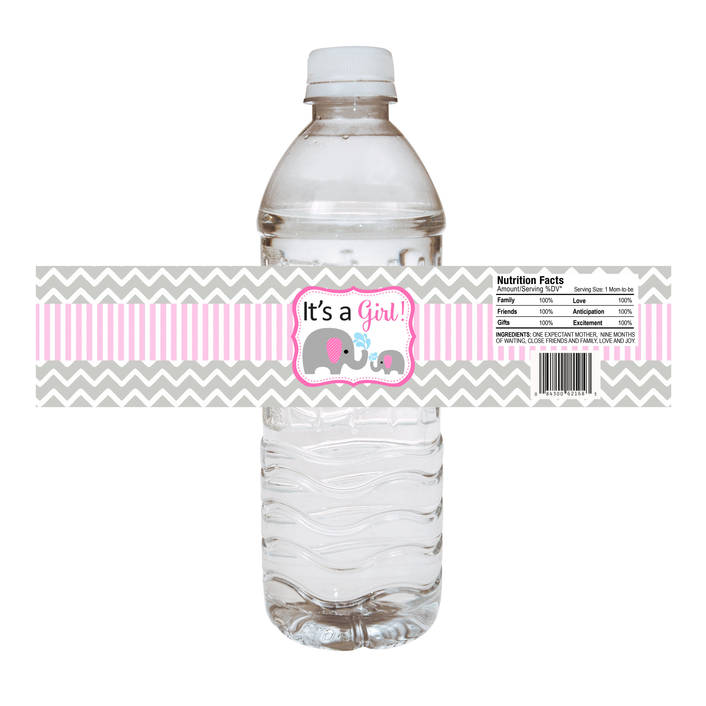Pink Elephant Water Bottle Labels for Baby Shower