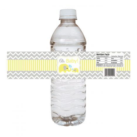 Yellow Baby Elephant Water Bottle Labels