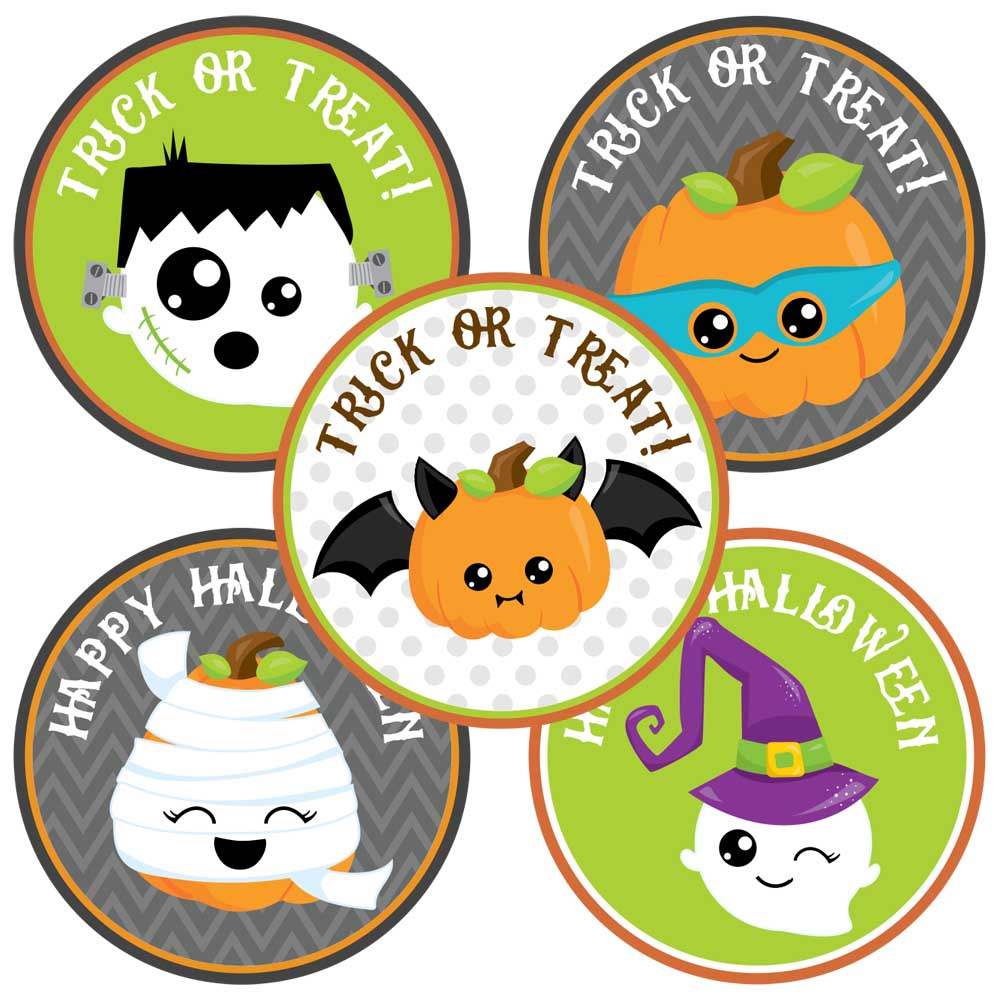 Happy Halloween Sticker Labels - Kids Trick or Treat Favors - Set ...