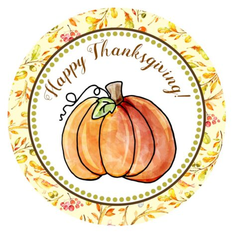 Happy Thanksgiving Pumpkin Stickers