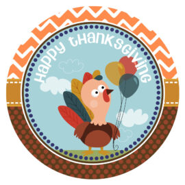 Turkey Happy Thanksgiving Stickers