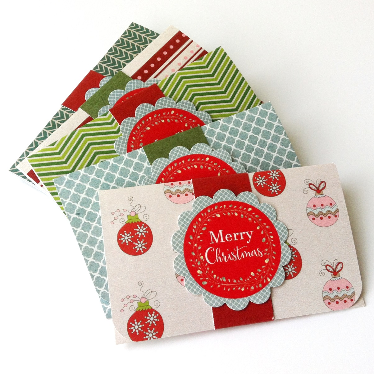 Christmas holiday gift card or money holders set of