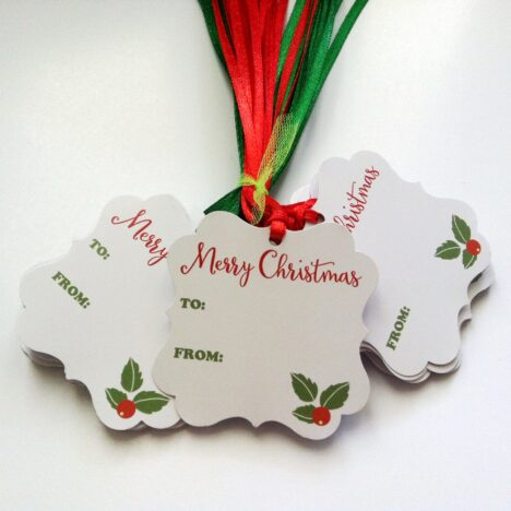 Merry Christmas Holiday Gift Tags with Red and Green Ribbon