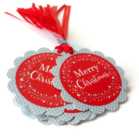 Merry Christmas Wreath Gift Tags