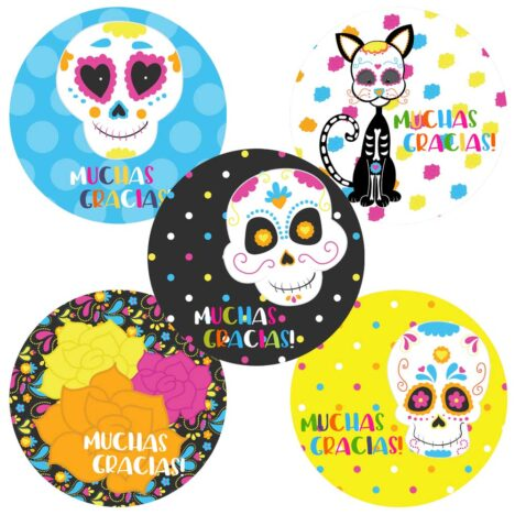 Sugar Skull Stickers Labels – Party Favors and Envelope Seal