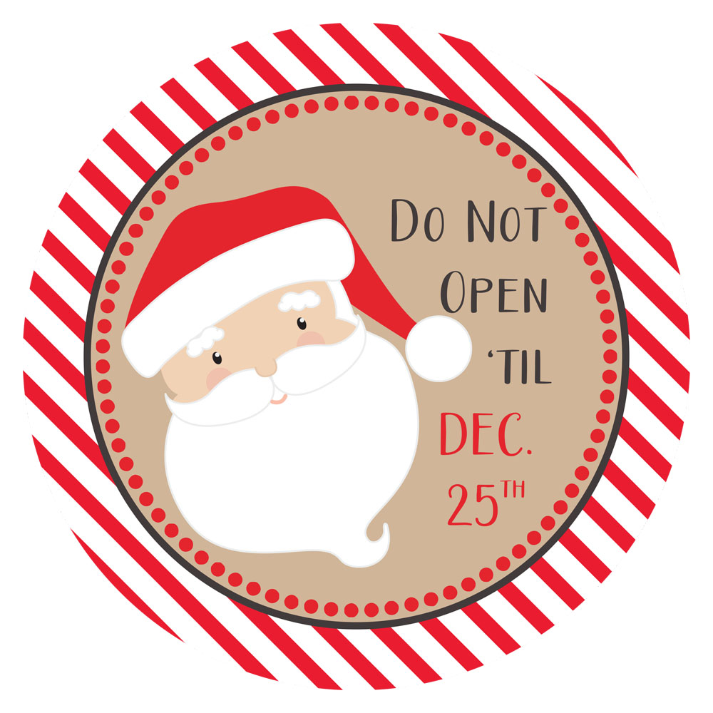 Christmas Stickers.Santa Says Do Not Open Til Christmas Stickers Gift Wrapping Labels