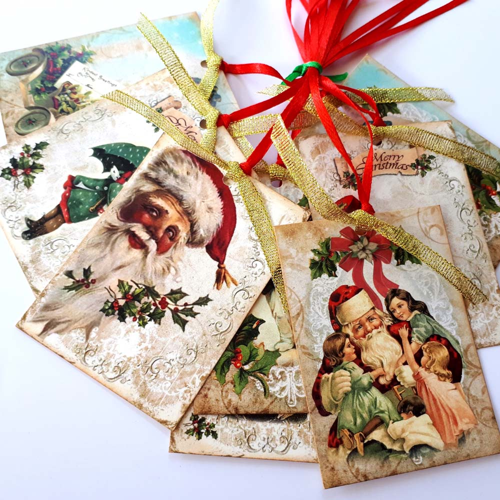 Merry Christmas Gift.Vintage Merry Christmas Gift Tags Set Of 8