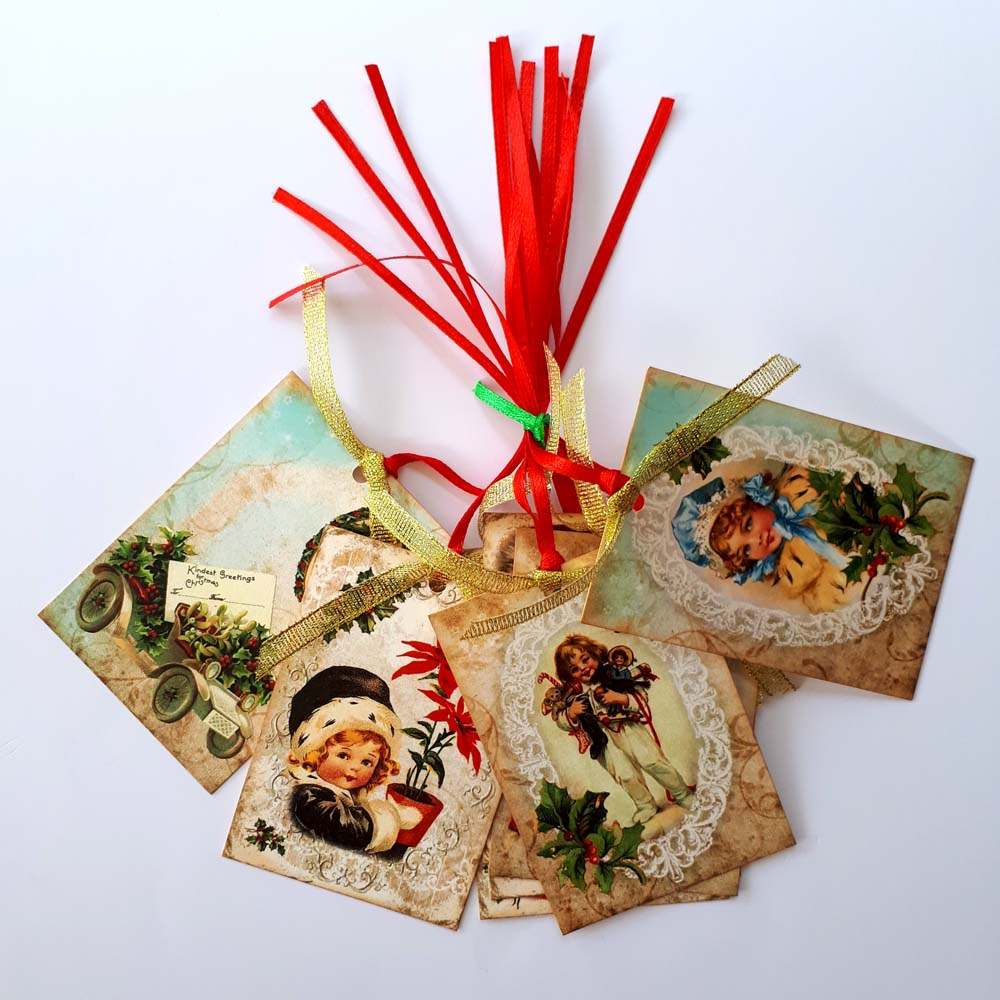 Vintage Merry Christmas Gift Tags with Santa and Children ...