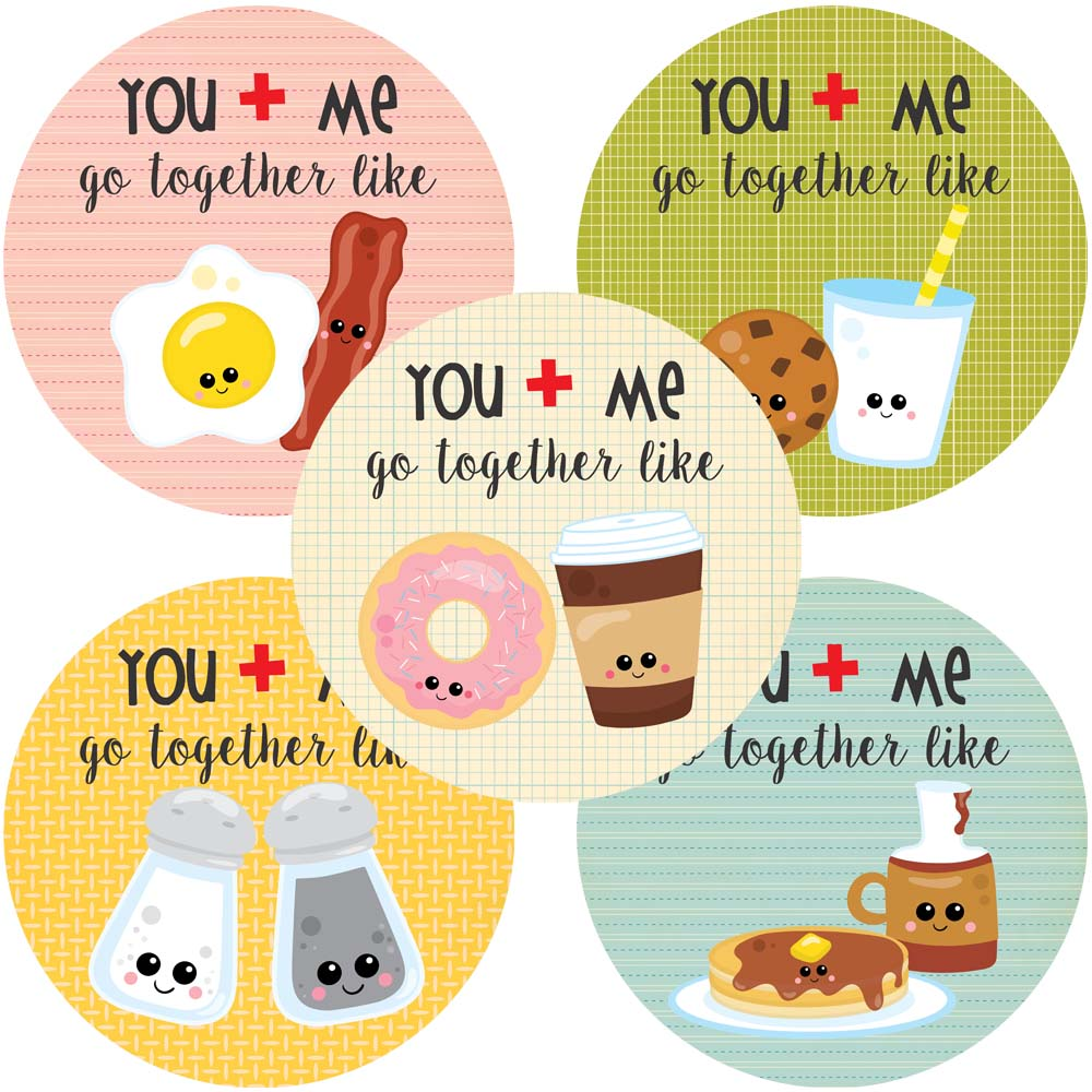 You and me go together like love stickers valentines day sticker labels set of 30