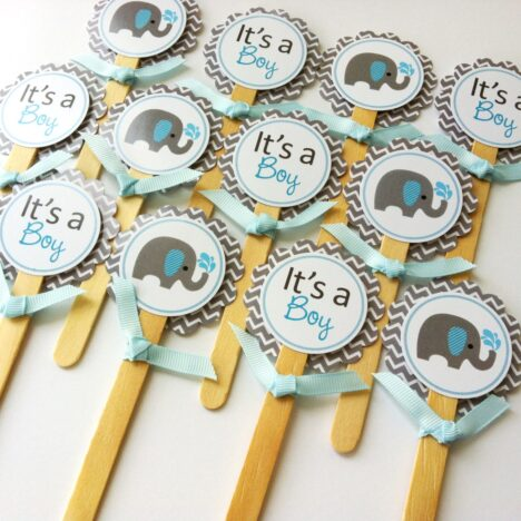 Baby Boy Elephant Cupcake Toppers