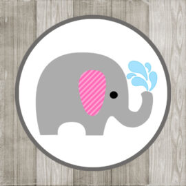 Grey Elephant Pink Ear Sticker