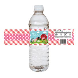 Farm Animals Watrer Bottle Labels Pink